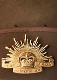 Australian rising sun army badge. Australian Army slouch hat with rising sun badge Royalty Free Stock Photo