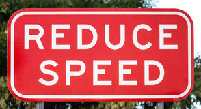 Australian Road Sign: REDUCE SPEED Stock Photos