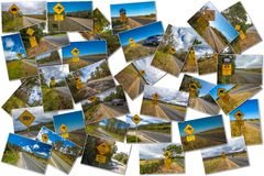 Australian road signs collage Stock Image