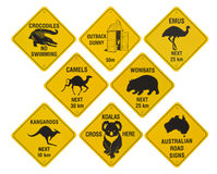 Australian road signs collection. Many yellow road signs from australia, isolated on white background stock photography