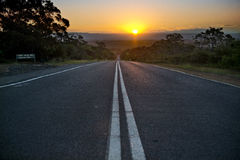 Australian road in the sunset Stock Photography