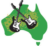 Australian rock and guitars. An illustration of the map of Australia and a pair of rock guitars Royalty Free Stock Photo