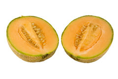 Australian rockmelon in halves Royalty Free Stock Photography