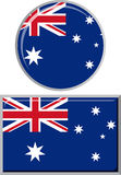 Australian round and square icon flag. Vector Stock Photography