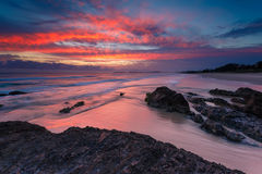 Australian seascape at sunrise with rich in red color Stock Photography