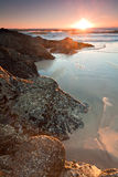 Australian seascape at sunrise at vertical format. (currumbin,queensland,australia royalty free stock image