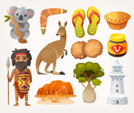 Australian set. Set of animals, people, elements and items associated with australia Royalty Free Stock Photography