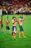 Australian Soccer Players Thanking The Crowd Stock Images