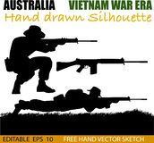 Australian soldier in the Vietnam War silhouettes. Australian soldier silhouettes from the Vietnam war era. 2 men holding SLR rifles stock illustration