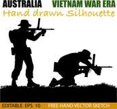 Australian soldier in the Vietnam War silhouettes. Australian soldier silhouettes from the Vietnam war era. Men with machine guns vector illustration