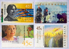 Australian stamps. Used Australian stamps close up Stock Photography