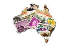 Australian stamps in the shape of Australia Royalty Free Stock Images