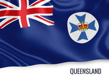 Australian state Queensland flag. Australian state Queensland flag waving on an isolated white background. State name is included below the flag. 3D rendering Stock Images