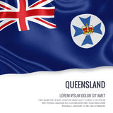 Australian state Queensland flag. Australian state Queensland flag waving on an isolated white background. State name and the text area for your message Royalty Free Stock Photography