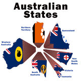Australian States. Exploded drawing of the Australian states coloured with their state flags Royalty Free Stock Photo