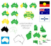 Australian states and flags. A set of icons of flags and maps of Australian states that include capital cities and maps in solid, outline and state line versions Royalty Free Stock Photo