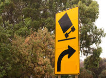 Australian street sign - lorries might tip over Royalty Free Stock Photography