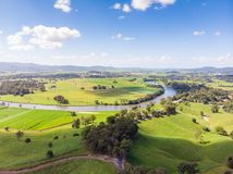Australian Sugarcane Fields and Landscape. Sugarcane fields near the town of Murwillumbah and Wollumbin National Park Mt Warning in rural New South Wales royalty free stock photography