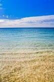 Australian Summer beach sea shore beautiful. Western Australias Ningaloo reef coastline. Beautiful blue skies and calm clear ocean stock image