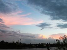 Australian Sunset looking out over the Brisbane River from Coronation Drive toward the South Bank stock photo