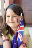 Australian Supporter. A young girl happily celebrating Australia day (26 January) or supporting an Australian sports team stock images