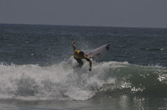 Australian Surfer soli bailey on top of wave Stock Images