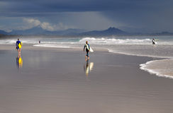 Australian surfers. Surfers and a body boarder at Byron Bay, heading out into a storm Stock Photo
