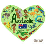 Australian symbols in heart shape concept. Royalty Free Stock Images