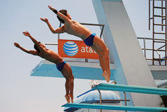Australian Synchronized Diving Team. Grant Nel and Ethan Warren both from Australia competing in the finals of the 3m Springboard competition at Ft.Lauderdale on Stock Images