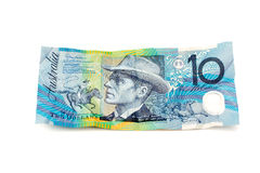 Australian Ten Dollar Note. Slightly crumpled Australian ten dollar note facing upwards Stock Image