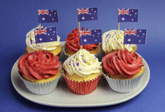 Australian Theme Red, White And Blue Cupcakes With National Flag - Closeup. Royalty Free Stock Image
