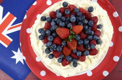 Australian traditional dessert, Pavlova - overhead. Royalty Free Stock Photography