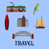 Australian travel and journey flat symbols Stock Images
