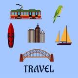 Australian travel and journey flat symbols Stock Images