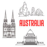 Australian travel landmarks linear icon. Travel landmarks of Australia icon with thin line gothic St Mary Cathedral, The Twelve Apostles of Port Campbell vector illustration