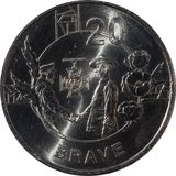 The Australian twenty-cent coin features the `Anzac Spirit - Brave` 2018, isolated on white background. Australian twenty-cent coin features the `Anzac Spirit stock photo