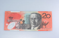 Australian Twenty Dollar Bannote. Australian Twenty Dollar Banknote John Flynn Side Up Stock Photos
