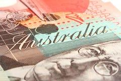 Australian Twenty Dollar Note. Detail of Australian twenty dollar note.  Focus on the word Australia Royalty Free Stock Image