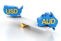 Australian and US dollars balance, 3d render Stock Photos
