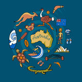 Australian vector doodle set Royalty Free Stock Images