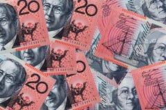 Australian vinte notas do dólar Fotografia de Stock