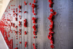 Australian War Memorial. Poppies on the wall of remembrance at the Australian War Memorial Royalty Free Stock Image
