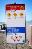 Australian warning sign for ocean at a beach  in Cardwell Royalty Free Stock Photo