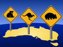 Australian warning signs Royalty Free Stock Photos
