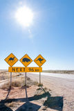 Australian wildlife crossing sign. Typical Australian roadsign with Camel, Wombat and Kangaroo at Nullarbor Plain, Australia Stock Photo