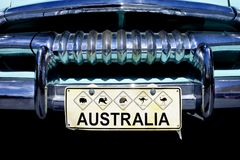 Australian Wildlife Icons Number Plate. On an old car in Australia stock photo