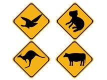 Australian wildlife signs. Australian wildlife koala bear, kangaroo, bird and cow Royalty Free Stock Images