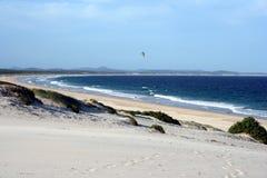 Australian Windswept Beach. Windswept Beach, a lonely kite surfer, Hawks Nest on the central coast, Australia Stock Photos