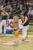 Australian wood cutter Blake Marsh at the Royal Adelaide Show, September 2014. Royalty Free Stock Images