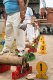 Australian wood cutter Darren Hayden of NSW  at the Royal Adelaide Show, September 2014. Royalty Free Stock Image
